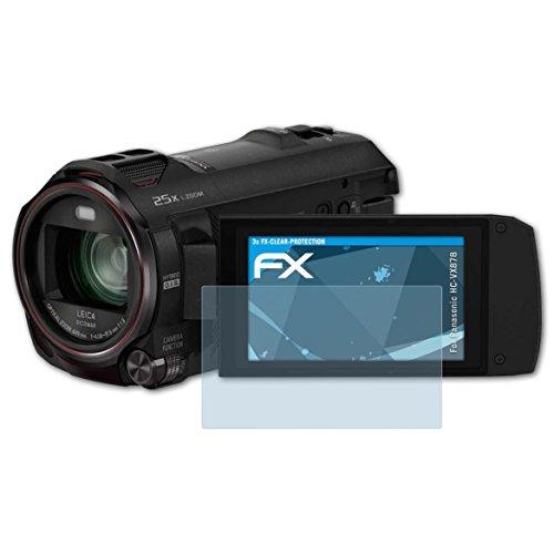 atFoliX Schutzfolie kompatibel mit Panasonic HC-VX878 Folie, ultraklare FX Displayschutzfolie (3X)