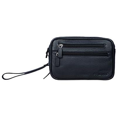 STILORD 'Nero' Sac de Poignet Homme Cuir Vintage Sac à Main pour Tablette 8,4 Pouces Sacoche à idéal comme Portefeuille Porte-Monnaie