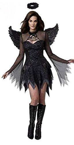 Aimerfeel-Women's Classic Angel Cosplay Kleid mit Flügeln Dame führen Kostüme Halloween, Fancy Dress und Weihnachtsfeier, eine Größe passt 42-44 (Angel Kostüme Womens)