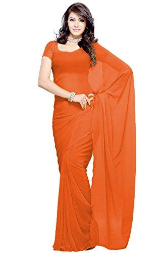 Vivera Women's Georgette Plain Saree(VR_DARK ORANGE 742)