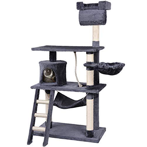 KExing Tiragraffi per Gatti Albero rampicante per Gatti Extra Larghezza Peluche Sisal con Corda di Gioco 140 cm Grigio