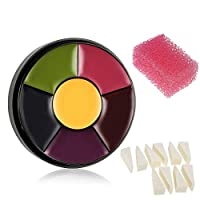 CCbeauty 6 Color Bruise Wheel Halloween Face Body Paint with 10pcs Powder Puff,Pink Stipple Sponge