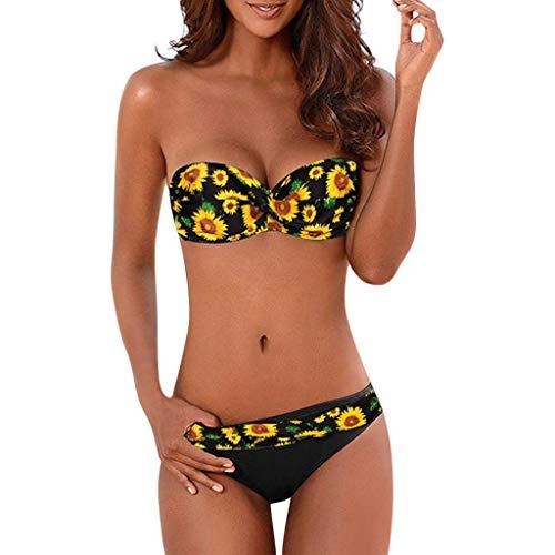 Sylar Bikinis Mujer Push Up Traje De Baño Mujer Dos Piezas Estampado Floral Conjunto De Bikini Bandeau...