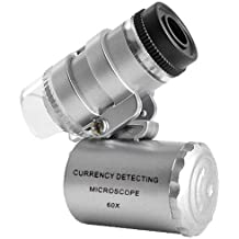 Microscopio LED Mini 60X joyería Lupa Iluminada Lentes Aumentos Luz UV A Pilas Monóculo