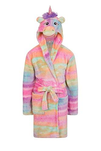 filles polaire Licorne arc-en-ciel multicolore robe de chambre de luxe flanelle à capuche Nouveauté Animal visage Taille UK 3 4 5 6 7 8 9 10 An - multicolore arc-en-ciel Licorne, 3-4 ans