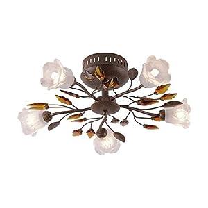 LED Deckenleuchte, 50x50, IP 20, Deckenlampe, Rost-Optik, Landhaus-Design, exkl. Leuchtmittel, G9-Fassung, max. 40 Watt