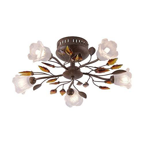 SellTec Landhaus-Leuchte, rustikale Deckenleuchte Florentiner Astleuchte mit Blättern Ranken, Fassung G9 LED fähig, Rost-Optik (50cm)