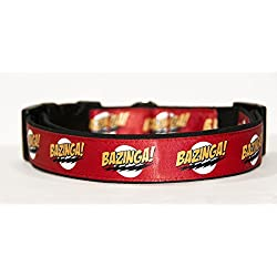 The Big Bang Theory Bazinga Collar Perro Hecho a Mano Talla M con Correa a juego de 150 cm Dog Collar HandMade