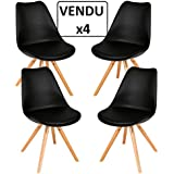Conjunto de 4 sillas confortables - Estilo escandinavo - Color NEGRO