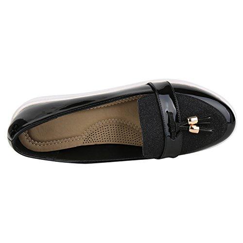 napoli-fashion Gefütterte Damen Stiefeletten Worker Boots Schnürstiefel Jennika Schwarz Black Shiny