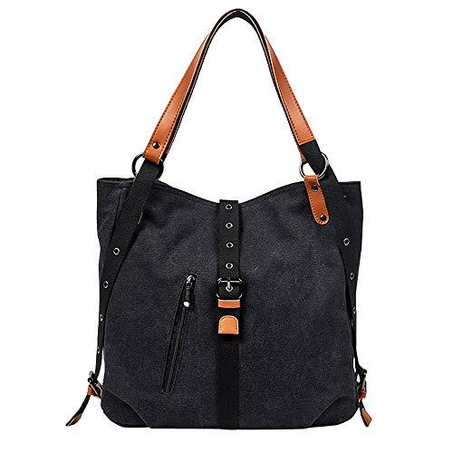 Schnalle Hobo Handtasche (REALIKE Damen Vintage Canvas Abnehmbarem Schulterriemen Handtasche Schnalle Anti Diebstahl Umhängetasche Neutral Handtasche Messenger Tasche Hobo Bag)