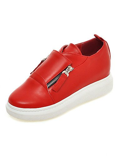 ZQ Scarpe Donna - Mocassini - Formale / Casual - Punta arrotondata - Plateau - Finta pelle - Nero / Rosso / Bianco , red-us10.5 / eu42 / uk8.5 / cn43 , red-us10.5 / eu42 / uk8.5 / cn43 red-us9.5-10 / eu41 / uk7.5-8 / cn42