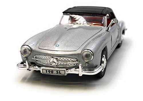 Onlineworld2013 Modellauto 190 SL Oldtimer Silber Auto Maßstab 1:34-39 (lizensiert)