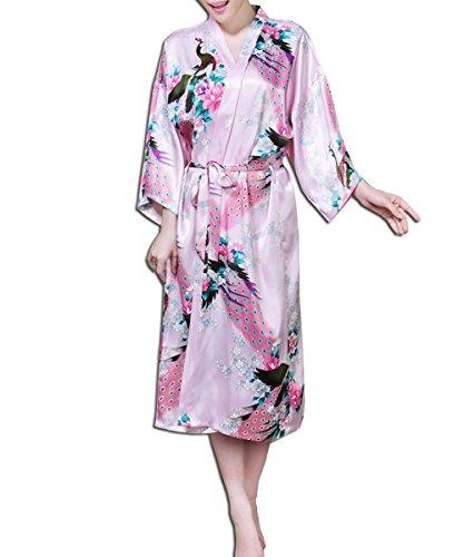 KAXIDY Robe de Nuit Robe de Chambre Femme Vêtements de Nuit et Peignoirs Pyjama Peignoir Rose