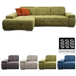 CAVADORE Ecksofa Mistrel mit Longchair XL links / Große Eck-Couch im modernen Design / Inkl. verstellbaren Kopfteilen / Wellenunterfederung / 273 x 77 x 173 / Grün