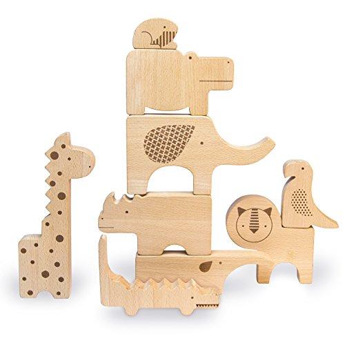 Petitcollage Holz Spielfiguren und Puzzle Safari Tiere im Geschenke Set natur