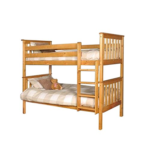 Premium Pine Bunk Bed with a Caramel Finish with Mattresses INCLUDED