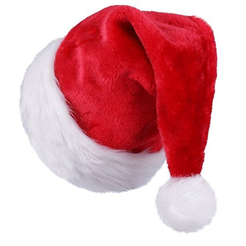 zb Extra Thicken Red and White Plush Santa Hat-Christmas Classic Hat for Child (Red & White) Red Hats Classic Hut