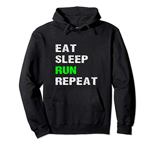 Eat Sleep Run Repeat Funny Running Slogan Runner Gift Idea Pullover Hoodie