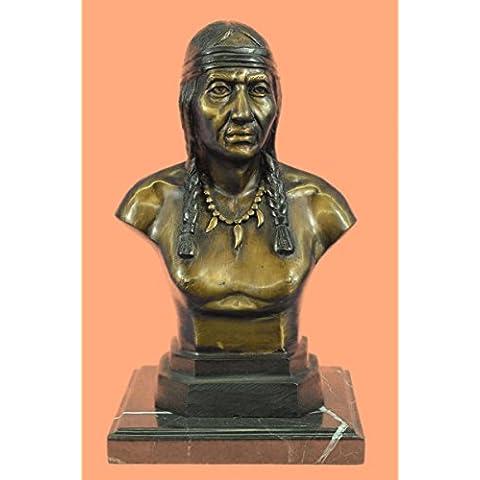 Escultura bronce estatua...Envío gratis...Jefe Guerrero indio nativo americano Arte del busto(58010-EU)Estatuas estatuilla estatuillas desnuda Oficina y Decoración del hogar Coleccionables Primer Día