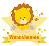 Samunshi® Löwe Aufkleber mit Namen Autoaufkleber Namensaufkleber Kinder in 7 Größen (40x35cm Mehrfarbig)