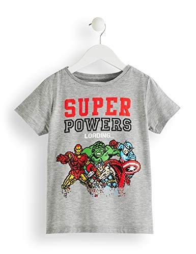 RED WAGON Jungen T-Shirt Marvel Avengers Print, Grau (Grey Marl 001), 134 (Herstellergröße: 9 Jahre)