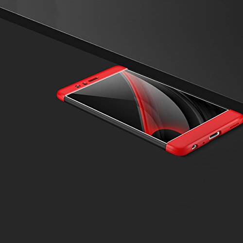 Huawei P9 Hülle, 3 in 1 Ultra Dünner PC Harte Case 360 Grad Ganzkörper Schützend Anti-Kratzer Schutzhülle Vollschutz Hülle für Huawei P9 Fall Premium mattierte Schutzharte Komplettschutz Handytasche R rot schwarz