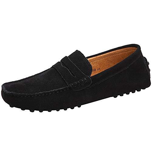 Yaer Herren Driving Loafers Flat, Premium Slip-on Wildleder Mokassin Bootsschuhe(Schwarz,EU42) Mokassin Slip-ons