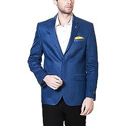 Van Heusen Men's Slim Fit Blazer (8907445859878_VHBZ316M04989_38_Medium Blue Solid)