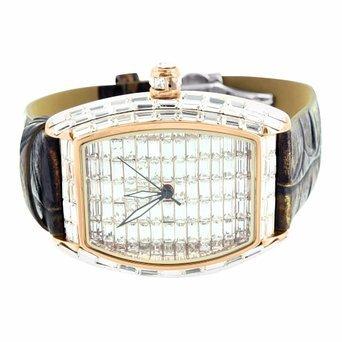 Rose Gold Baguette Lab Diamant Armbanduhr für Männer Leder Band Verkauf New (Männer Gold Iced Out Uhr)