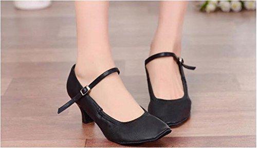 ¿sqiao-x-dance Shoe Case Con Suela De Goma? Buckle, Latin Dance Square Dance Zapatos De Baile Blancos