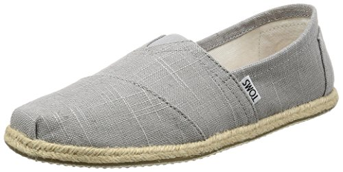 TOMS Men Alpargata on Drizzle Hombre, Gris Grey Linen Rope Sole 000, 43.5 EU