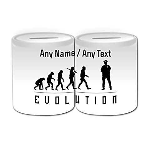 Personalised Gift - Police Money Box (Evolution Full Wrapped Design Theme, White) - Any Name / Message on Your Unique - Occupation Worker Staff Employee Silhouette Outline Contour Community Support Officer PCSO Policeman Hat Cap Uniform British Constable UK PC Sergeant Inspector Traffic PC SGT INSP CID Helmet History