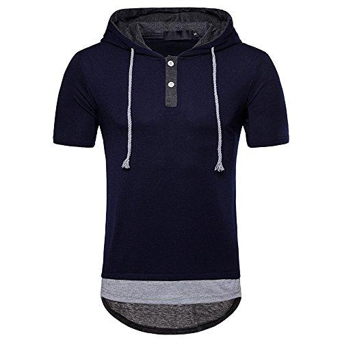 Kurzarmshirt Fitness Ciciyoner Sweatshirts Shirt Kapuzenpullover Mit Business Einfarbig Herren Kordelzug SommerKurzarm T Hoodie Kapuze c4jq35LARS
