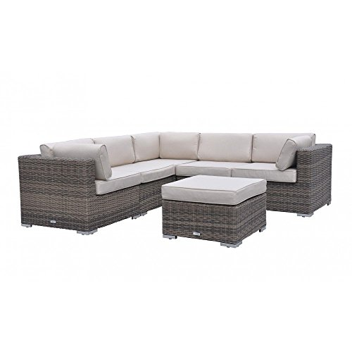 Radeway Sectional Outdoor Patio Furniture Sets Wicker Rattan Sofa, Mix Brown