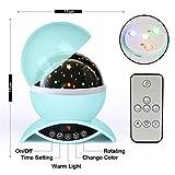 Amouhom Sternenhimmel Projektor Lampe mit Fernbedienung, LED Nachtlicht mit Wiederaufladbare Batterie 360 Drehen und Timing Schlaflicht für Kinders Schlafzimmer Romantische Geschenke für Frauen(Grün) - 5
