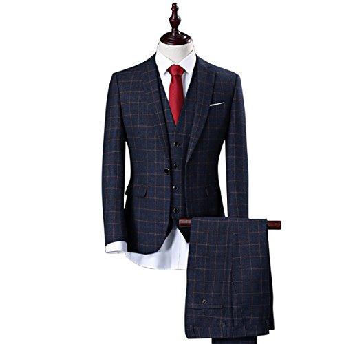 Herren Bräutigam Anzug Zwei Tasten 3-teilig Slim Fit Anzüge für Party Smoking Blazer Jacke Weste Hosen Set (Navy Blau, M) (3-tasten-anzug Navy)