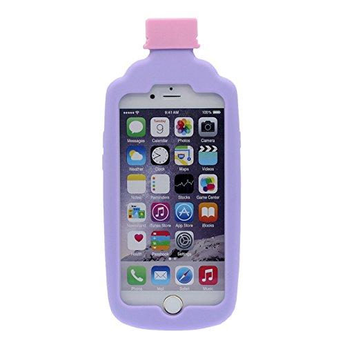 Coque Housse de Protection pour Apple iPhone 6 6S 4.7 inch Doux Silicone Case Anti choc 3D Interesting Bouteille de jus Forme Bleu avec 1 Silicone Kickstand violet