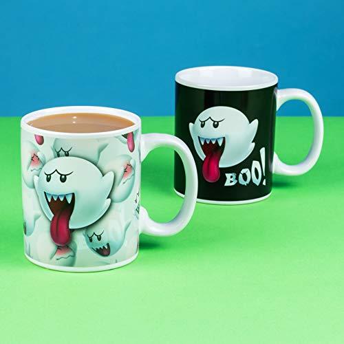 Paladone Super Mario Boo Taza del cambio del calor del fantasma | Sensible a las bebidas calientes | Cambios de color y diseño cuando hace calor | Taza de té de café que cambia de color mágico