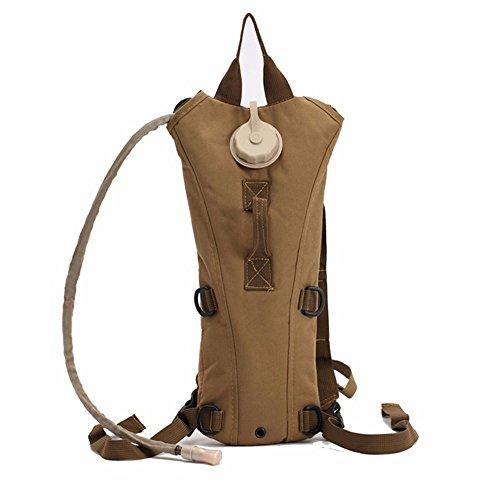 zooron verstellbar tragbar Langlebig 3L Hydration Pack Rucksack Camelbak Wasser Tasche mit Blase für die Jagd Survival Wandern Klettern Radfahren Running Khaki