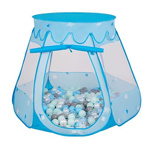 Selonis Baby Spielzelt Mit Plastikbällen Zelt Plastikkugel Kinder, Blau:Perle-Grau-Transparent-Babyblau-Mint,105X90cm/100 Bälle -