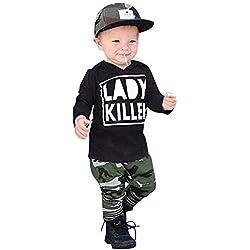 Covermason Babybekleidung, Neugeborenes Kinder Baby Junge Brief T-Shirt Oberteile + Camouflagehose Outfits Kleider Sets (90, Serie-Schwarz)