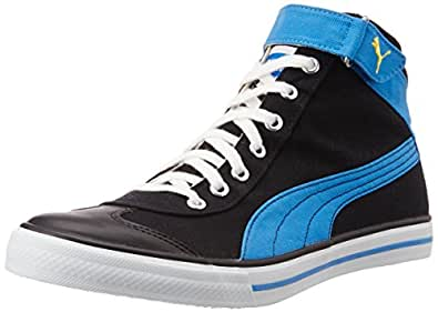 Puma Unisex 917 Mid 3.0 DP Black, Blue Aster and Dandelion Canvas Sneakers - 10 UK