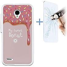 Funda Gel Flexible Vodafone Smart Prime 6 BeCool Sweet Donut [ +1 Protector Cristal Vidrio Templado ] Carcasa Case Silicona TPU Suave
