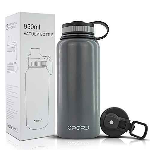 Opard Edelstahl Trinkflasche,Thermoskanne 950ml,Doppelwandige Edelstahl Wasserflasche,Vakuum Isolierflasche,Auslaufsicher Thermosflasche,aus Titan,BPA-frei