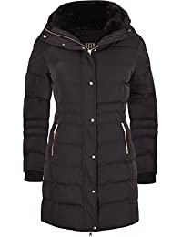 Spindle Women's Designer Winter Lined Parka Quilted Coat Fur Collar Hooded Long Ladies Womens Jacket