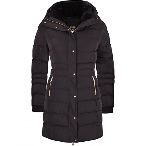 ba6e58ae6f8 Spindle Women s Designer Winter Lined Parka Quilted Coat Fur Collar Hooded  Long.