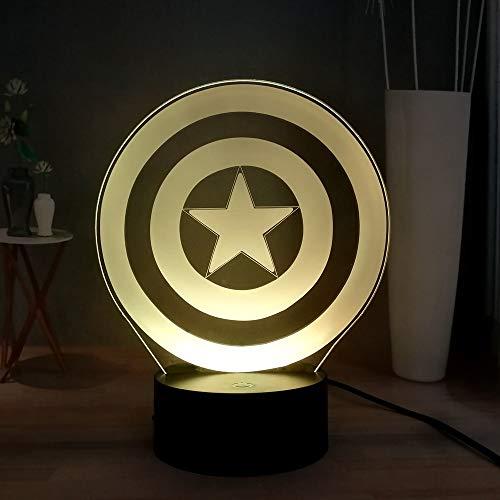 LED Lampe 3D Captain America Schild Nachtlicht 7 Farben blinkend LED Dekoration USB Nachttischlampe Schreibtischlampe Geburtstagsgeschenk