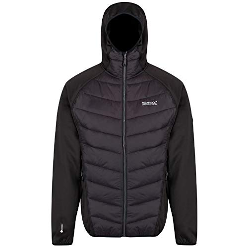 Regatta Herren Andreson IV Insulated Water Repellent Stretch Hybrid Hooded Down Jacke, schwarz, L Sport Stretch Jacke