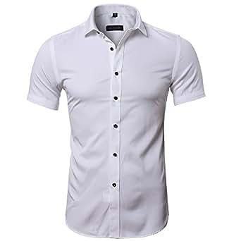 Maglietta in Fibra di bambù da Uomo, Manica Corta, Slim Fit, T-Shirt Formale per Uomo, Bianco, 38